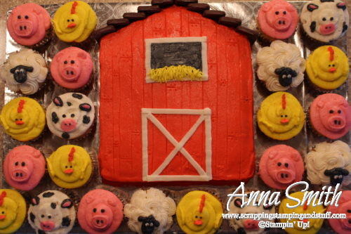 Toddler farm themed birthday party - barn cake, farm animal cupcakes pig cow sheep and chick, haystacks, chick deviled eggs, garden relish tray and fruit tray