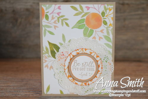Pretty handmade thinking of you card made with Stampin' Up! Sending Thoughts stamp set and Fruit Stand designer paper