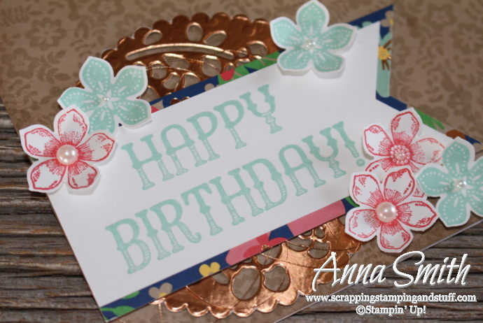 Lovely floral birthday card made with Stampin' Up! Window Shopping and Petite Petals stamp sets and Window Box thinlits