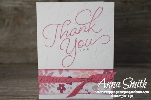 Pretty floral handmade thank you card made with the Stampin' Up! So Very Much stamp set that can be earned free during Sale-a-bration!