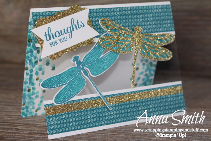 Thinking of you card idea using floating card technique and Stampin' Up! Dragonfly Dreams and Best Birds stamp sets
