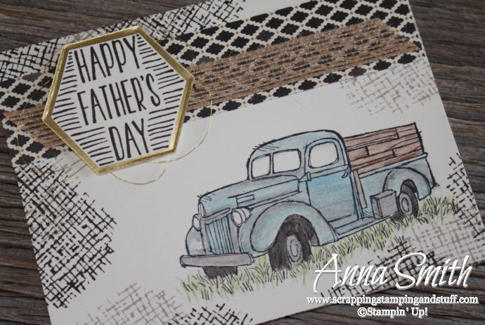 Rustic masculine antique truck Father's Day card idea made with Stampin' Up! Country Livin', Nailed It, and Best Birds stamp sets