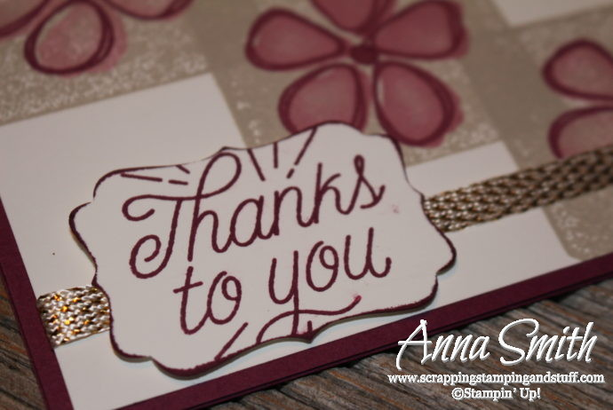 Floral thank you card made with the Stampin' Up! Fresh Fruit stamp set and the block stamping technique