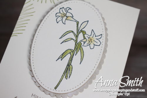 Stampin' Up! Easter card ideas - lily and palm branch card made with the Easter Message and Suite Sentiments stamp sets