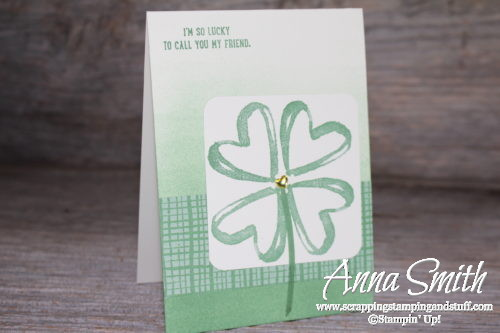 St. Patrick's Day card idea using Stampin' Up! Watercolor Words and Sprinkles of Life stamp sets