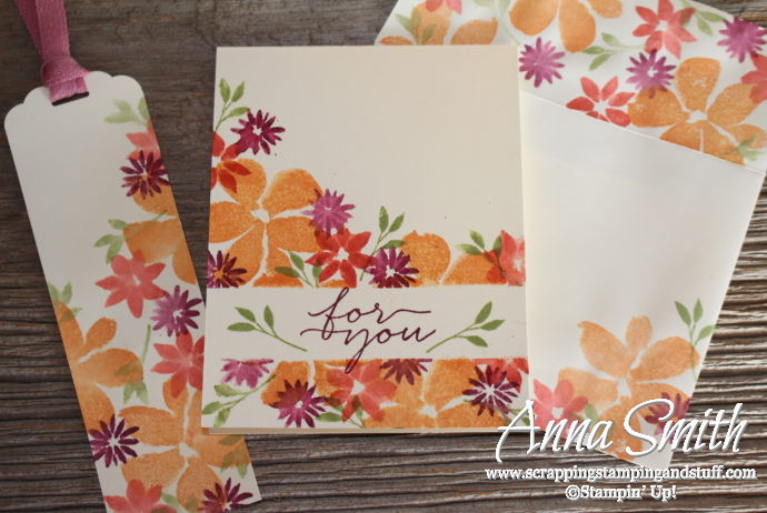 Clean and Simple Card Idea Using Spritz Stamping Technique and Blooms and Wishes Stamp Set