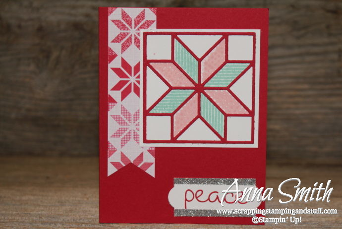 Stampin' Up! 2018 Holiday Catalog Sneak Peek! Christmas Card Idea with Christmas Quilt Stamp Set and Quilt Builder Framelits
