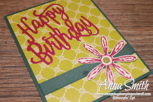 Bright birthday card idea using the Stampin' Up! Happy Birthday thinilts, Daisy Delight stamp set and the cute daisy punch!