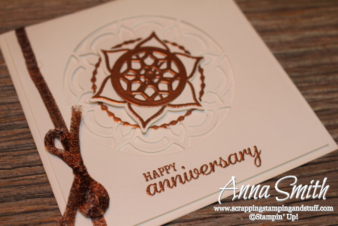 Elegant Stampin' Up! Eastern Beauty white on white anniversary card idea with bronze embossing