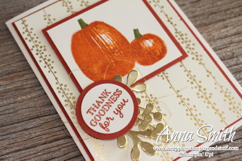 Two pumpkin card ideas made with the Stampin' Up! Gourd Goodness stamp set. One clean and simple card and one that is stepped up.