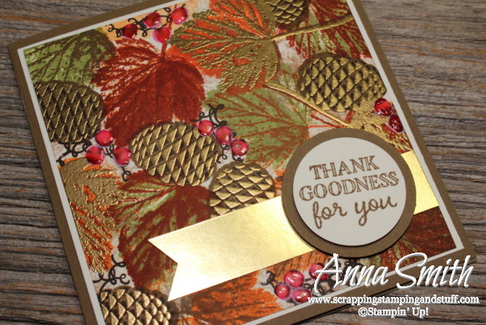Elegant fall leaves and pinecones card with gold accents, made with Stampin' Up! Gourd Goodness and Christmas Pines stamp sets.