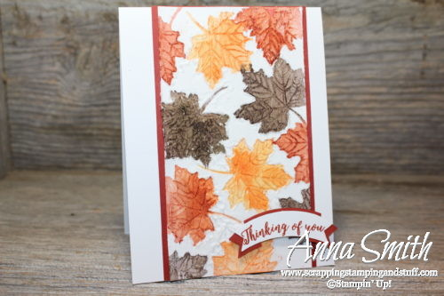 A fall leaves card with a lot of texture. Features the Stampin' Up! Colorful Seasons stamp set and a unique stamped embossing paste technique.