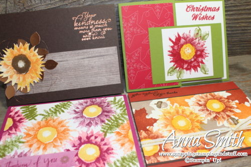 Cards for 4 occasions made with the Stampin' Up! Painted Harvest stamp set - includes fall, Christmas and thinking of you card ideas