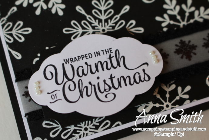 Stampin' Up! Snowflake Sentiments Black and White Christmas Card Idea from 2017 Holiday Catalog