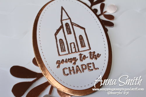 Clean and simple wedding card idea using the Stampin' Up! In the City stamp set. Going to the Chapel!