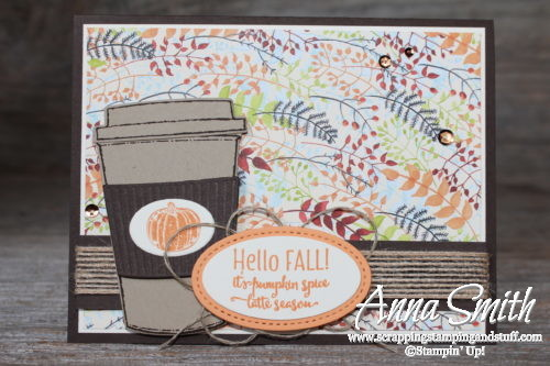 Fall pumpkin spice latte card using the Stampin' Up! Merry Cafe stamp set and Painted Autumn stamp set