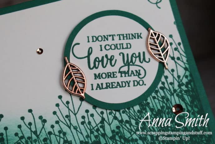 "Green masculine foliage I love you card made with the Stampin' Up! Enjoy Life and Detailed with Love stamp sets ""I don't think I could love you more than I already do."""