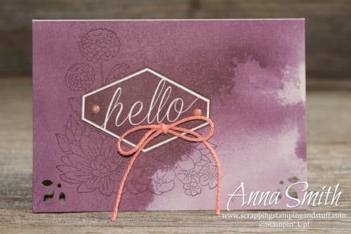 Super simple hello card using the Stampin' Up! Accented Blooms stamp set and Delightfully Detailed cards