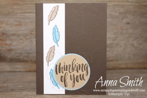 Masculine thinking of you card idea with feathers - uses the Stampin' Up! Daisy Delight and Rooted in Nature stamp sets