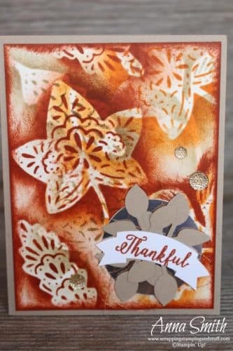 Fall card idea using stencil sponging technique with the Stampin' Up! Falling For Leaves stamp set and Detailed Leaves thinlits - with video tutorial