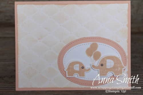 Girl's baby card idea made with the Stampin' Up! Little Elephant stamp set and Elephant Builder Punch