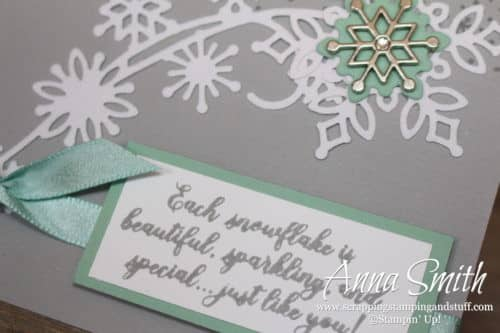 Stampin' Up! Snowflake Showcase Christmas card idea made with the Snow is Glistening stamp set and Snowfall Thinlits