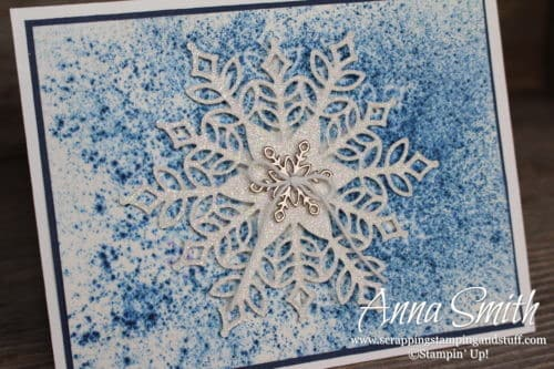 Stampin' Up! Snowflake Showcase snowflake Christmas card idea with the Snowfall thinlits and Snow is Glistening stamp set - using Brusho color crystals