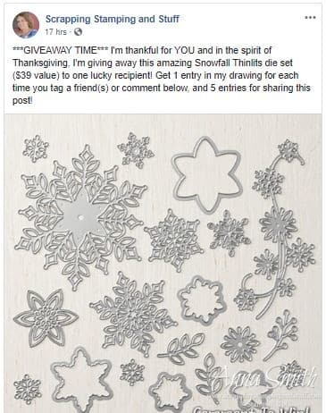 Stampin' Up! Facebook Snowfall Thinlits Dies Giveaway