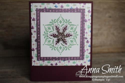 Sending positive thoughts card made with Stampin' Up! Snowflake Showcase Happiness Surrounds stamp set and Snowfall thinlits. Also uses GORGEOUS Frosted Floral paper.