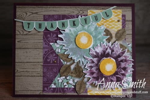 Rustic Thanksgiving thankful card idea featuring the Stampin' Up! Pick a Pennant and Painted Harvest stamp sets and Country Lane designer paper.