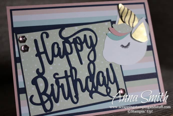 Cute unicorn card idea using the Stampin' Up! Happy Birthday thinlits and Twinkle Twinkle designer paper - unicorn punch art