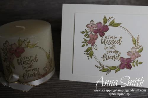 12 Day of Handmade Gift Ideas - Day 11 Stamped Candle and Card Set using the Floral Frames and Southern Serenade stamp sets