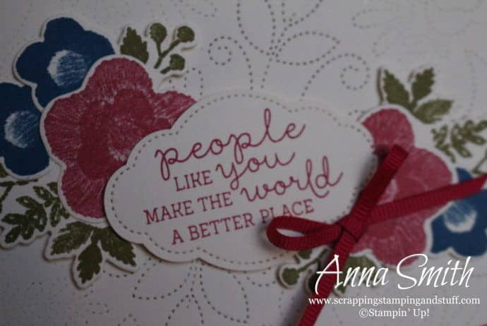 2019 Occasions Sneak Peek!! Pretty card idea with stitching that looks like a quilt! Stampin' Up! Needle & Thread stamp set and Needlepoint Elements framelits.