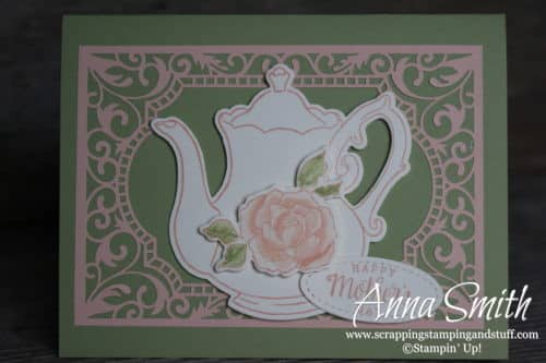 Occasions Catalog Sneak Peek!! Teapot Mother's Day card idea using the Stampin' Up! Tea Together stamp set and Tea Time framelits.