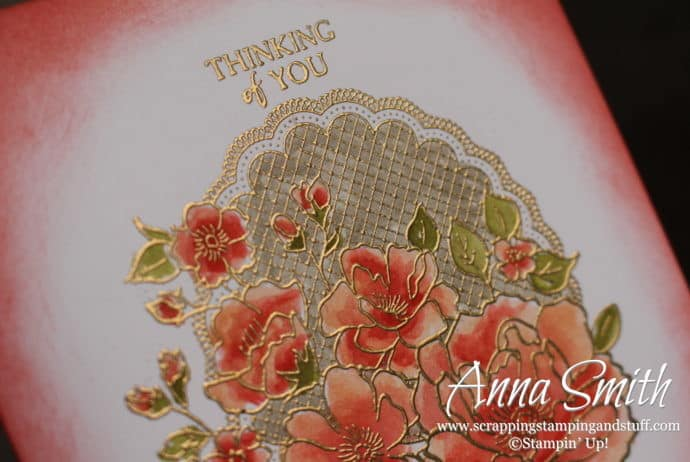 2019 Sale-a-bration free item option - the Stampin' Up! Lovely Lattice stamp set. Here's a pretty Thinking of You Card. Free tutorial available along with many more!