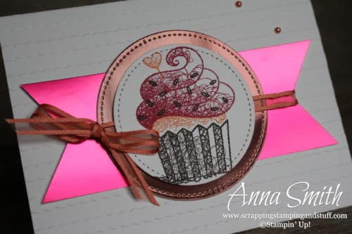 2019 Sale-a-bration free item options Stampin' Up! Hello Cupcake stamp set and foil paper pack! Cute birthday card idea.