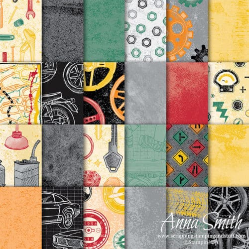 Stampin' Up! Classic Garage Designer Paper car themed scrapbook paper