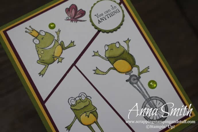 2019 Sale-a-bration free item option - the Stampin' Up! So Hoppy Together stamp set! Cute frog card idea!