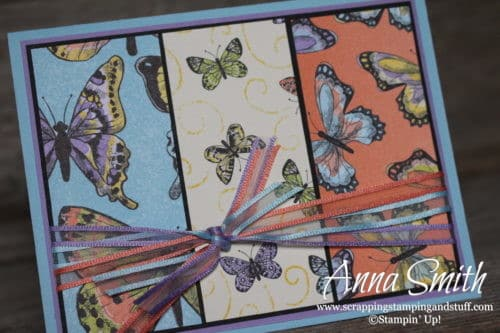 Pretty butterfly card made with the Stampin' Up! Sale-a-bration reward items - organdy ribbon combo pack and Botanical Butterfly designer paper