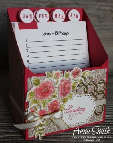 Beautiful Stampin' Up! Climbing Roses card and birthday card organizer set. Includes photo tutorial for the card organizer!
