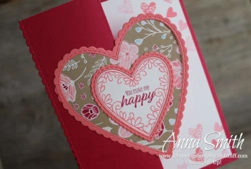 Stampin' Up! Meant to Be card idea for Valentine's Day with a fancy fold and the All My Love designer paper, love, hearts