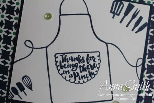 Cute thank you card idea made with the Stampin' Up! Apron of Love stamp set. Cooking, baking card idea with an apron.