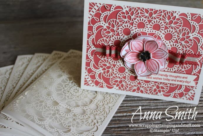 Beautiful Lace Handmade Card Using Stampin' Up! Floral Essence Stamp Set, Perennial Flower Punch, and Bird Ballad Laser-Cut Cards and Tin