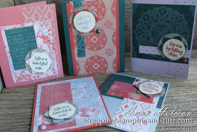 New Stampin' Up! 2019-2021 In Colors - Terracotta Tile, Pretty Peacock, Rococo Rose, Purple Posy, and Seaside Spray - and the Woven Threads Designer Paper Pack