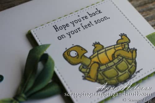 Super cute get well soon, thinking of you turtle card!! Made with the Stampin' Up! Back On Your Feet stamp set.