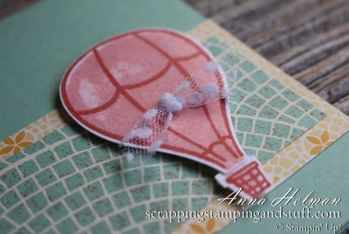 Cute hot air balloon card idea made using the Stampin Up Above the Clouds stamp set and hot air balloon punch - You're Off to Great Places - great for graduation, moving, or new job card ideas