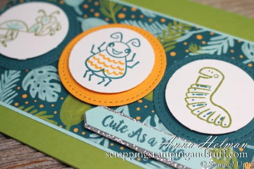 Cute as a bug little boy kids card idea made using the Stampin Up Wiggle Worm stamp set 2019-2020 Annual Catalog
