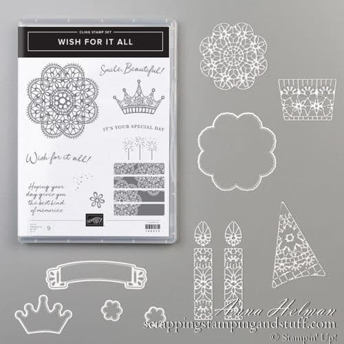 Stampin Up Wish For It All Stamp Set and Doily Wishes Dies Bundle