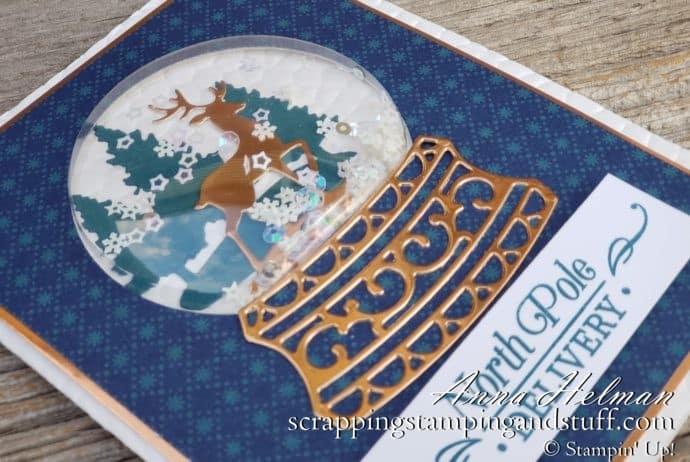 2019 Holiday Catalog Sneak Peeks Beautiful Stampin Up Snow Globe Scenes Christmas Card Idea with Photo Tutorial