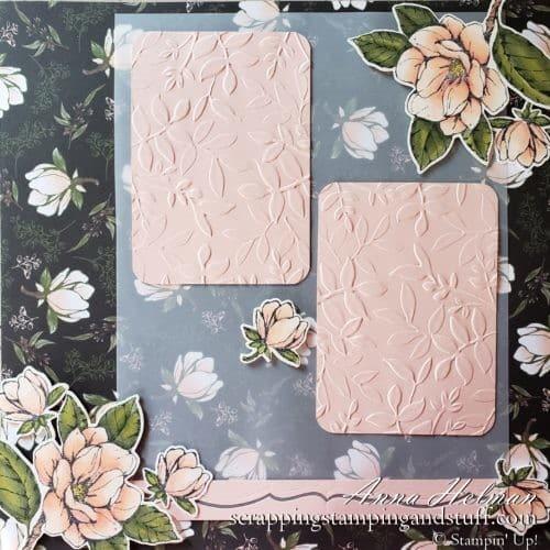 Gorgeous floral scrapbook page idea using the Stampin Up Good Morning Magnolia stamp set and Magnolia Lane designer paper